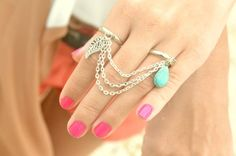 Ring Bohemian Boho Two Dual Finger Ring Feather Leaf Turquoise Charm Silver Chain Drape Jewelry