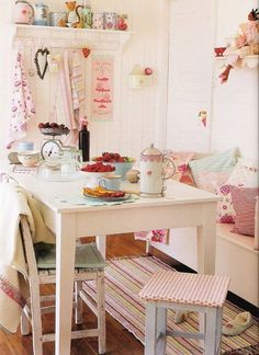shabby chic whimsy bright and cheery kitchen dining