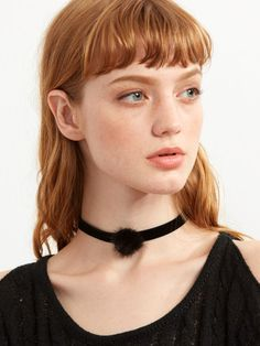 Black Velvet Pom Pom Choker Necklace