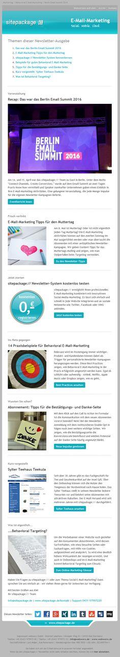 Im April-Newsletter gibt es einen Rückblick auf das Berlin Email Summit 2016 sowie Tipps für das E-Mail-Marketing zum Muttertag. Außerdem Best Practices für Behavioral E-Mail-Marketing