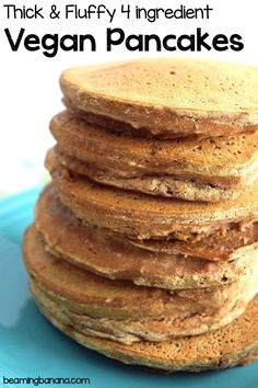 Thick, soft and fluffy vegan pancakes. Made with just 4 ingredients, these healthy pancakes are gluten free and sweetened naturally. My go to pancake recipe! | beamingbanana.com