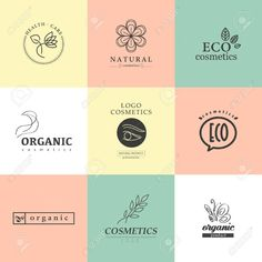 Stock photo - vector collection of cosmetics logo identity templates. natural and eco product label. organic cosmetics and health care insignia. Ideas Para Logos, Face Line Drawing, Cosmetic Logo, Organic Logo, Coffee Health Benefits, Natural Cosmetics, Product Label, Logo Color, Health Quotes