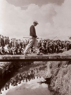 Ben Hogan crosses a stream on the Carnoustie Golf Course on the way to winning the Open Championship in July of 1953. Hogan shot a 68 in the final round to win with a total of 282.
