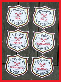 Fire Chief Badges Fireman Birthday Party INSTANT by SIMONEmadeit