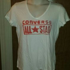 Converse t-shirt All*Star XL Lightweight classic ladies' V-neck short sleeve tee shirt by Converse. White with vibrant red/orange lettering, perfect with shorts, jeans, capris... awesome casual wear. In excellent condition, maybe a little wrinkly out of the dryer. Converse Tops Tees - Short Sleeve