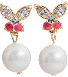 Buy Classy Pearl Pink White American Diamond Drop Earrings danglers-drop online