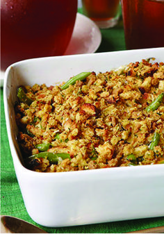 Cheesy Green Bean Casserole – The green bean casserole just upped the ante. You'll like this stuffing-and-cheese-studded version so much, you won't host the holidays without it! Plus, this side-dish recipe is prepped in just 10 minutes.