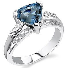 London Blue Topaz Ring Sterling Silver Trillion Cut 200 Carats Size 6 >>> Want additional info? Click on the image.(This is an Amazon affiliate link)