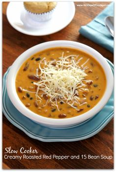 Slow Cooker Recipe for Roasted Red Pepper and 15 Bean Soup with Ham