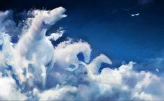 Pferde, Abstrakt, Flugzeug, Wolken, 3D und Zusammenfassung