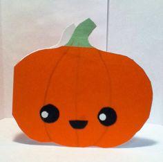 Handmade Kawaii Pumpkin Card  Cardstock by justcreativecards, $3.50