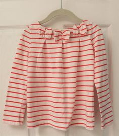 GYMBOREE Girl's 5 5T Pink White Striped Bow Shirt Long Sleeve RIGHT MEOW line
