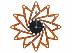 Pinwheel Modern Wall Clock I (Rusted)