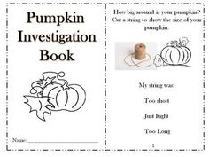 Pumpkin Investigation Book.. Great activities for fall. Activities use a pumpkin to explore various Science and Math concepts. $ Trinity Preschool, Preschool Science, Science Classroom, School Holidays, School Fun, School Stuff, School Ideas, Fall Crafts For Kids, Kid Crafts