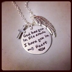 Personalized Necklace Hand Stamped Jewelry - God has you in His arms, I have you in my Heart Memorial Necklace Silverware Jewelry, Wire Jewelry, Jewelry Crafts, Girly, Memorial Jewelry, Hand Stamped Jewelry, Handcrafted Jewelry, Fingerprint Necklace, Fingerprints