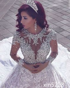 Princess Luxury Bling Crystal Fall Winter Long Sleeve Bridal Gown Wedding Dress | Clothing, Shoes & Accessories, Wedding & Formal Occasion, Wedding Dresses | eBay!