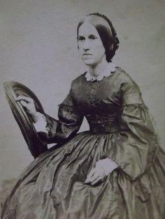 Antique CDV Photo-Civil War Era-Young Lady-Hoop Dress-Hair-Pin-Fashion-Lowell,MA