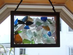 glasses, beach glass shadow box, seaglass display, craft idea, diy craft, beachglass crafts, sea glass, stained glass, seaglass craft