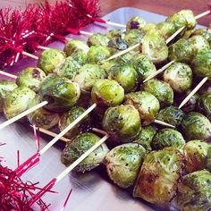 Skewering roasted brussels sprouts onto a kebab elevates this Winter side favorite to a fun, party-worthy app.