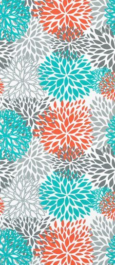 Orange Teal Ikat Embroidered Fabric Modern By