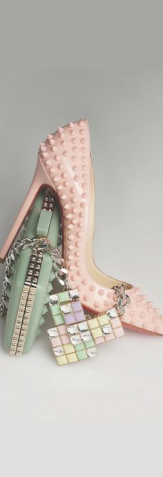 Light Pink Spiked Studded Christian Louboutin Red Bottoms Pointed Toe High Heels