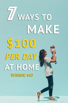 Here are 7 ways to work at home and earn $100 per day doing it. These passive income side hustle ideas are great for anyone who needs the time flexibility.   #sidehustle #makemoney #passiveincome