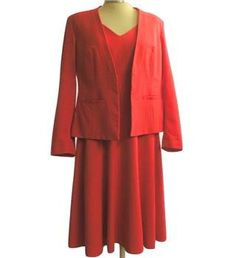 M&S Marks & Spencer - Size: 14 - Red - Dress and matching jacket.