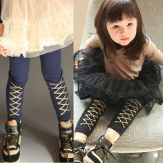cc933a2a1e261 Fashion Autumn Winter British Style Girls Cross Leggings Child Long Trousers  Female Kids Leggins Blue Black Baby Pants Trousers