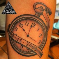 Tattoo by our artist Heather Martin-Owens.  See more of Heather's work at: http://www.larktattoo.com/long-island-team-homepage/heather/  pocket watch, watch, black and gray