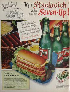 vintage 7-up ads | 1954 Vintage Seven Up 7-Up Ad ~ Stackwich, Vintage Beverage Ads (Other ...