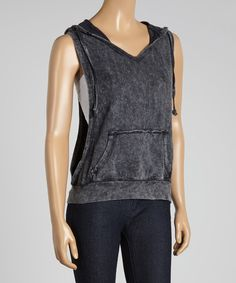 Take a look at the Black Distressed Sleeveless Hoodie on #zulily today!