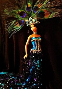 Empress of the Peacocks ~Barbie doll OOAK Peacock Beauty Asian Oriental Exotic
