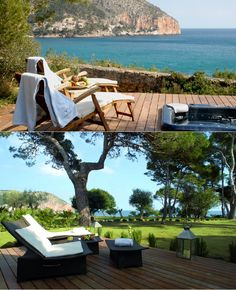 Hotel Can Simoneta is located on the north-east coast of Mallorca, two minutes away from Canyamel. Hotel Room Design, Best Hotels, East Coast, Sun Lounger, Red And Blue, Terrace, Spain, Around The Worlds, Relax