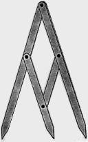 houten instrument in de vorm van een 3 legged kompas een afstand verdelen volgens de gulden snede