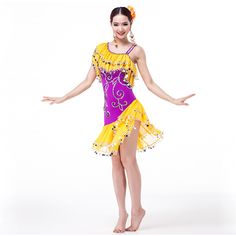 >> Click to Buy << New Fashion Embroidery Beads Dress Women Lyrical Dress One Shoulder with Coin Samba Carnival Costumes Ballroom  Dance Dresses #Affiliate