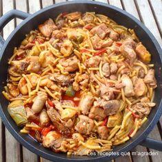 Comparte Recetas - Fideos a la cazuela con pollo y salchichas