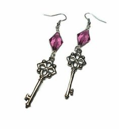 SALE Victorian Metallic Silver Beautifully Detailed Style Drop Skeleton Key Earrings w/Plum Purple Marquise Cut Beads Designer FREE SHIPPING - Only $5.25 on Etsy! https://www.etsy.com/listing/237199084/sale-victorian-metallic-silver