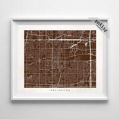 Arlington, Texas Street Map Print