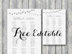 Free Wedding Printable Editable Seating Chart Template Invitations Stylish