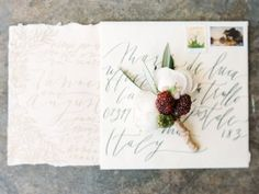 romantic calligraphy wedding invitation - photo by Morning Light by Michelle Landreau