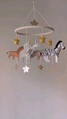 Baby Crib Mobile, Baby Cribs, Baby Room Decor, Nursery Decor, Woodland Mobile, Jungle Nursery, Felt Mobile, Rhinoceros, Let's Create