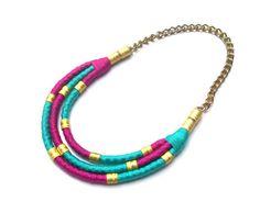 Statement bib necklace colorful bib necklace statement by BeataTe