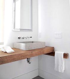 Wood vanity & towel bar with grey stone sink