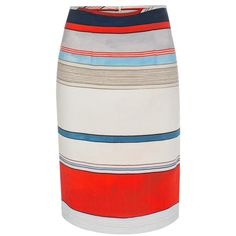 Paul Smith Women's Coloured Stripe Linen-Blend Pencil Skirt ($250) ❤ liked on Polyvore featuring skirts, bottoms, striped skirt, paul smith, striped pencil skirt, pleated pencil skirt and knee length pencil skirt