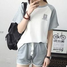 Korean knit cotton pajamas women short sleeve summer pyjamas pijamas mujer casual sleepwear girls tracksuits 3XL S104