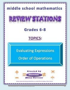 Middle School Math Stations Order of op, expressions