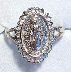 Sterling Silver Ring Our Lady Of Grace Virgin Mother Mary of the Miraculous Medal size 9 (Image1)