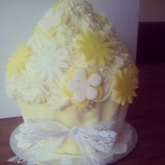 Yellow and White Vintage/Rustic Giant Cupcake