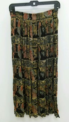 Exclusive by Whispers Sz Small Maxi Full Floral Rust Gold Button Down Skirt B271 #ExclusivebyWhispers #FullSkirt