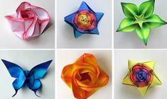 Origami Blumen, Schmetterlinge und Blumen zusammenfalten